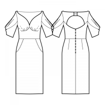 Dress-Semi-fitted-Maxi length-Plunging heart bateau neckline-No collar-No front closure-Dress with waist seam-Skirt with on-seam / front-hip pockets-Sewist ♥ front: Gathers under bust-Back design: Sewist ♥ exclusive-Back with opening and slanted inset-5/8 Sleeve with double cascading pleats