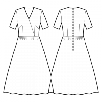 Dress-Semi-fitted-Tea length-Regular V wrap-No front closure-Dress with waist seam-Gathered skirt-French and waist darts-Back waist dart-1/4 sleeve