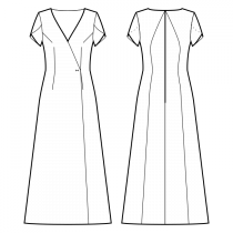 Dress-Semi-fitted-Full length-Wrap dress-Comfy neckline low-cut wrap-No front closure-Dress without waist seam-No waist seam, A-line dress-Front armhole and waist darts-Back princess seam neck center to waist-Petal Short Sleeve