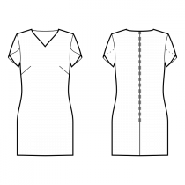 Dress-Semi-fitted-V-neckline-No collar-Short length-No front closure-Shift dress-Plain skirt-Front french dart-Back shoulder dart-Petal Short Sleeve