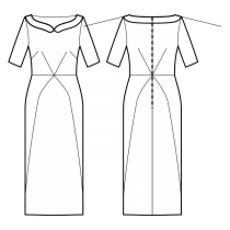Dress-Semi-fitted-Heart bateau neckline-Peter Pan collar-Ankle length-Dress without waist seam-Princess skirt center waist to side hem-Front french and waist center darts-Back shoulder and waist center darts-1-seam sleeve, 3/8 length