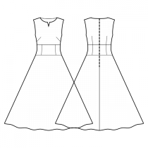 Dress-Semi-fitted-Slot neckline-No collar-Full length-No front closure-Dress with waist inset-Semi circular skirt-All front darts transferred to french dart-Back waist dart-No sleeves