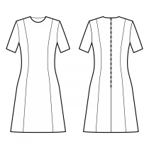 Dress-Loose fit-Below knee length-Jewel neckline-No collar-No front closure-Dress without waist seam-No waist seam, 6-panel skirt-Princess front seam: shoulder to waist-Back princess seam shoulder to waist-1-seam sleeve, 1/4 length