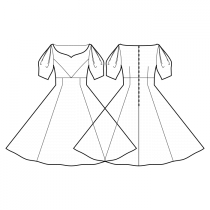 Dress-Loose fit-Maxi length-Décolleté-No collar-No front closure-High waist dress-High fitted waist full circle panel skirt-Princess front seam: armhole to waist center-Back waist dart-1/2 Sleeve with double pleat