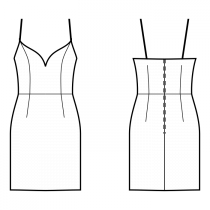 Dress-Fitted-Knee length-Dress with straps-Deep decollete-No top decoration-No front closure-Dress with waist seam-Waist seam, straight skirt-Princess front seam: top to waist-Back waist dart-Choose straps-Thin straps