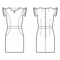 Dress-Fitted-Knee length-Slot neckline-No collar-No front closure-Dress with waistband-Skirt with on-seam / front-hip pockets-Princess front seam: shoulder end to waist-Back mid neck and waist darts-Gathered placket sleeve