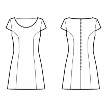 Dress-Fitted-Short length-Deep round neckline-No collar-No front closure-Dress without waist seam-No waist seam, 6-panel skirt-Princess front seam: armhole to waist-Back princess seam armhole to waist-Wing Sleeve