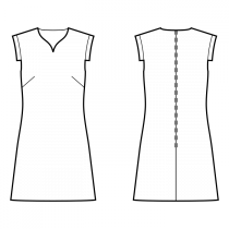 Dress-Fitted-Above knee length-Seashell neckline-No collar-No front closure-A-line dress-Plain skirt-Front french dart-Back shoulder dart-Sleeve straight placket