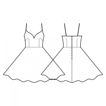 Dress-Fitted-Below knee length-Dress with straps-Deep decollete-No top decoration-No front closure-Dress with waist seam-Circular skirt-Front french and waist dart-Back waist dart-Choose straps-Thin straps