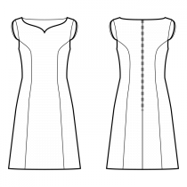 Dress-Fitted-Below knee length-Regular armholes-Heart bateau neckline-No collar-No front closure-Dress without waist seam-No waist seam, A-line dress-Princess front seam: armhole to waist-Back princess seam armhole to waist-Short split wings sleeve