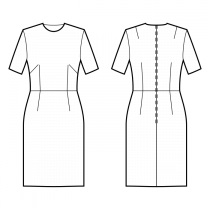 Dress-Fitted-Below knee length-Regular armholes-Tight neckline-No collar-No front closure-Dress with waist seam-Waist seam, straight skirt-Front french and waist darts-Back shoulder and waist dart-1-seam sleeve, 1/4 length