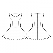 Dress-Fitted-Deep round neckline-No collar-Mini length-No front closure-Dress with waistband-Circular skirt-Front armhole and waist darts-Back waist dart-No sleeves