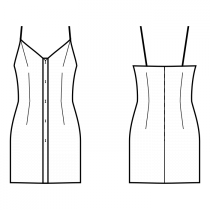Dress-Bodycon (knit fabrics!)-Short length-Dress with straps-V decollete-No top decoration-Button closure neckline to hem-Dress without waist seam-No waist seam, straight skirt-Front top and waist dart-Back waist dart-Choose straps-Thin straps