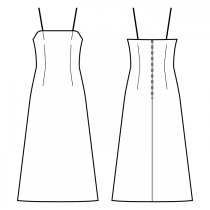 Dress-Bodycon (knit fabrics!)-Ankle length-Dress with straps-Straight top edge-No top decoration-No front closure-Dress without waist seam-No waist seam, A-line dress-Front top and waist dart-Back waist dart-Choose straps-Thin straps