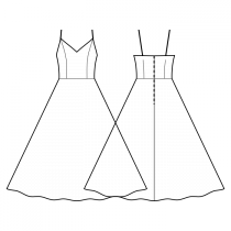 Dress-Bodycon (knit fabrics!)-Full length-Dress with straps-V decollete-No top decoration-No front closure-Dress with waist seam-Semi circular skirt-Princess front seam: top to waist-Back waist dart-Choose straps-Thin straps