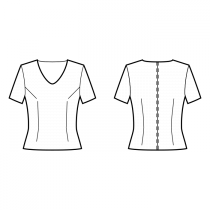 Top-Fitted-Mid-hip length-Rounded V-neckline-No collar-No front closure-Bodycon-No waist seam, straight hem-Front armhole and waist darts-Back waist dart-1-seam sleeve, 1/8 length