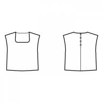 Top-Fitted-Waist length-Horseshoe neckline-No collar-No front closure-Loose top / Tunic-Even hem-No sleeves