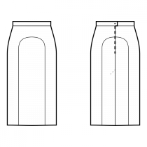 Skirt-Maxi length-Straight skirt with center inset-Waistband with back button
