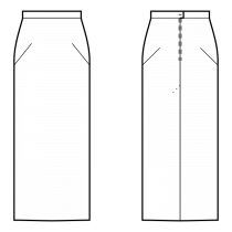 Skirt-Full length-Straight skirt with slanted darts-Waistband with back button