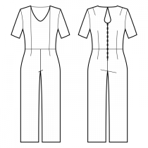 Jumpsuits-Semi-fitted-Regular armholes-Rounded V-neckline-No collar-No front closure-Jumpsuit with waist seam-Straight pants-Ankle length-Princess front seam: neck top to waist-Back design: Sewist ♥ exclusive-Back teardrop neckline-1/4 sleeve