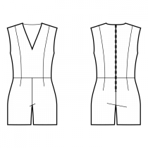 Jumpsuits-Fitted-Regular armholes-Plunging neckline-No collar-No front closure-Jumpsuit with waist seam-Straight pants-Short length-Princess front seam: shoulder to waist-Back princess seam: shoulder to waist-No sleeves
