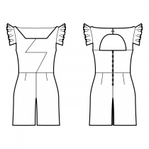 Jumpsuits-Fitted-Regular armholes-Geometric Scoop Neckline-No collar-No front closure-Jumpsuit with waist seam-Wide leg pants-Above knee length-Lightning dart center neck to center waist-Back design: Sewist ♥ exclusive-Back with opening-Gathered placket sleeve