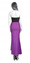 S3121 Maxi Skirt With Insets And Gored Flounces