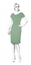 S4014 Dress With Asymmetric Folded Collar