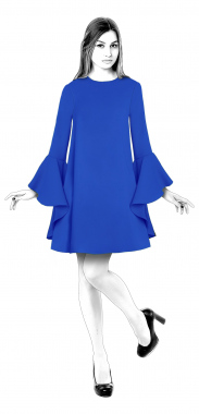 S4017 Swing Dress With Sleeves With Flounces