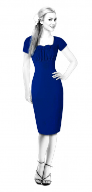 S4105 Sheath Dress With Waistband And Pleated Sleeves