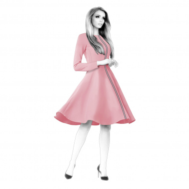 S4106 Dress With Panel Full Circle Skirt