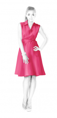 S4042 Dress With Wrap, Stand Collar And Flared Skirt