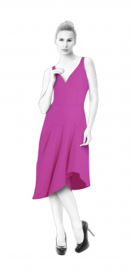 S4069 Dress With Asymmetrical Flounce